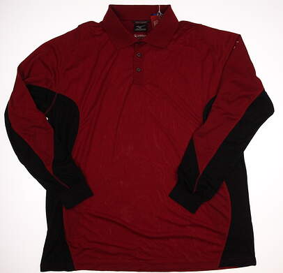 New Mens Mizuno Long Sleeve Golf Polo X-Large XL Red MSRP $88