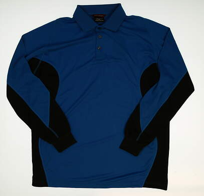 New Mens Mizuno Long Sleeve Golf Polo Large L Blue MSRP $88