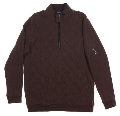 New W/ Logo Mens Ashworth Golf Pima Cotton Quilted Pique 1/2 Zip Pullover Medium M Brown (Java) MSRP $120 B38057