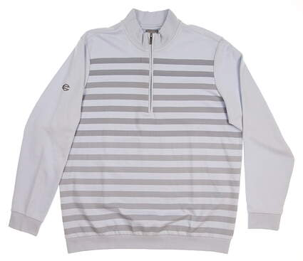 New W/ Logo Mens Ashworth Golf French Terry Herringbone 1/2 Zip Pullover Large L Blue MSRP $80 Z94902