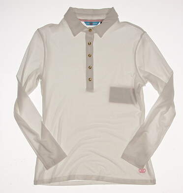 New Womens Lizzie Driver Genesis Long Sleeve Golf Polo Small S White MSRP $116