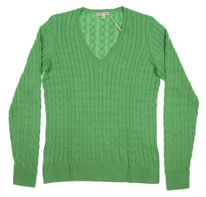 New Womens Fairway & Greene Golf Perry Cable V-Neck Sweater Large L Green MSRP $139 D32178