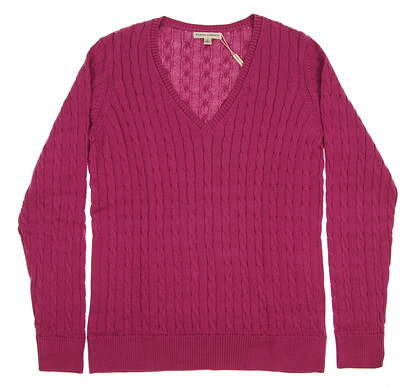 New Womens Fairway & Greene Golf Perry Cable V-Neck Sweater Large L Purple MSRP $139 D32178