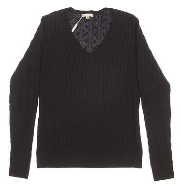 New Womens Fairway & Greene Golf Perry Cable V-Neck Sweater Medium M Black MSRP $139 D32178