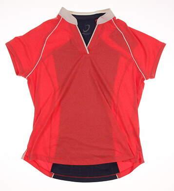 New Womens Zero Restriction Golf Polo Large L Orange MSRP $95