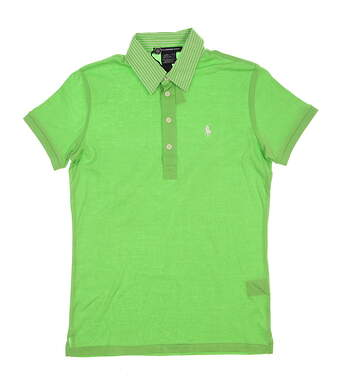 New Womens Ralph Lauren Golf Tailored Golf Fit Cotton Polo w/ Stripe Trim Collar Medium M Green MSRP $98 0476471