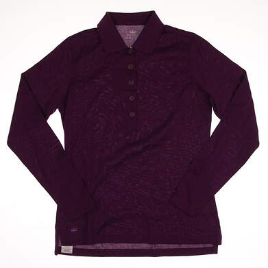 New Womens Peter Millar Golf Long Sleeve Polo Small S Purple MSRP $89