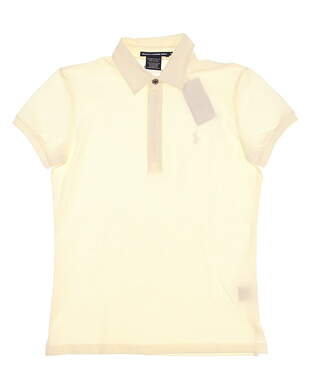 New Womens Ralph Lauren Golf Tailored Golf Fit Stretch Cotton Solid Polo Large L White (Ivory) MSRP $90 0476346