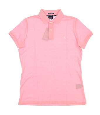 New Womens Ralph Lauren Golf Tailored Golf Fit Stretch Cotton Solid Polo Small S Pink MSRP $90 0476347