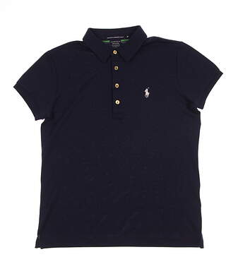 New Womens Ralph Lauren Golf Tailored Golf Fit Solid Polo Medium M Navy Blue MSRP $90 0476372