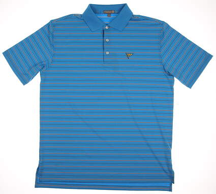 New W/ Logo Mens Peter Millar Golf Polo Large L Blue MSRP $90