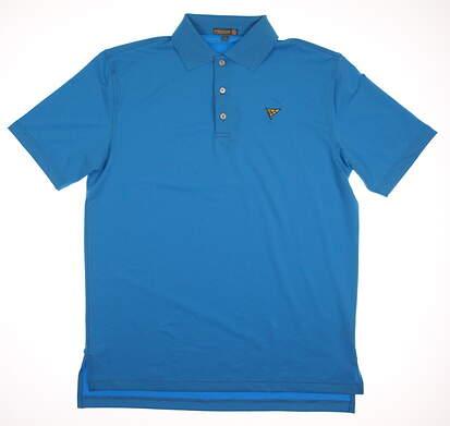 New W/ Logo Mens Peter Millar Golf Polo Medium M Blue MSRP $90