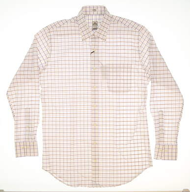 New Mens Peter Millar Nanoluxe Oxford Tattersall Classic Button Down Medium M White (Parade) MSRP $125 MS15W03CBL
