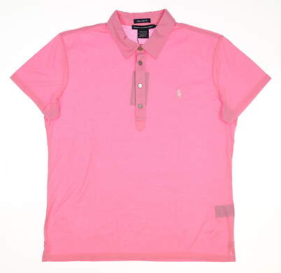 New Womens Ralph Lauren Classic Golf Fit Cotton Solid Polo Large L Pink MSRP $90 0490220