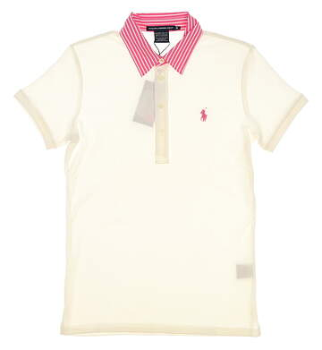 New Womens Ralph Lauren Tailored Golf Fit Cotton Polo Medium M White MSRP $98 0476470