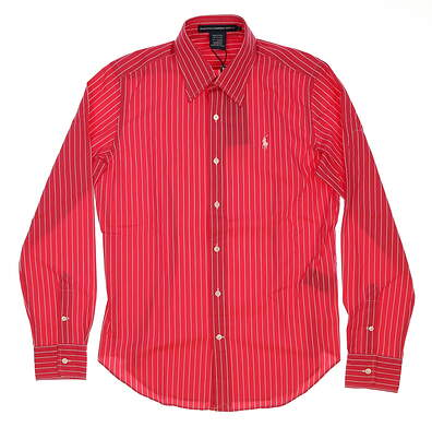 New Womens Ralph Lauren Golf Cotton Striped Button Down Shirt Small S (6) Red MSRP $90 0964491