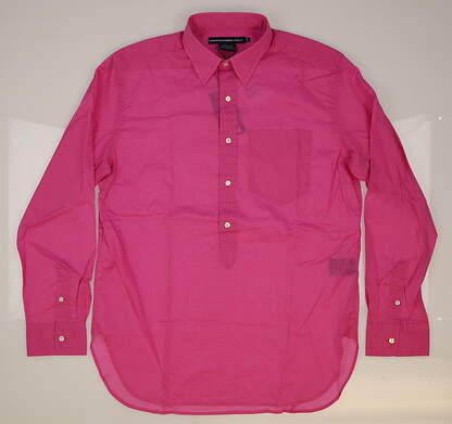 New Womens Ralph Lauren Golf Cotton Solid Button Down Shirt Medium M (8) Pink MSRP $90 0964485
