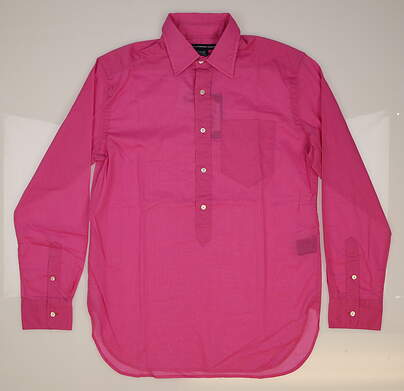 New Womens Ralph Lauren Golf Cotton Solid Button Down Shirt Small S (4) Pink MSRP $90 0964485
