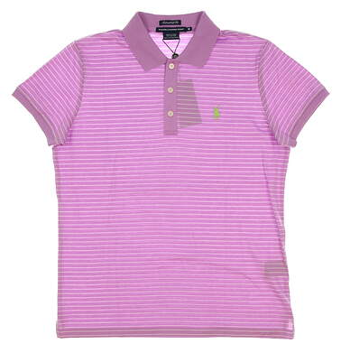 New Womens Ralph Lauren Golf Tailored Golf Fit Cotton Striped Polo Medium M Purple MSRP $90 0476444