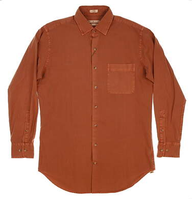 New Mens Peter Millar Mountainside Garment-Dyed Solid Sport Shirt Medium M Brown (Hickory) MSRP $145 MF16W50CFL