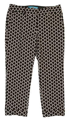 New Womens Lizzie Driver Firenze Print Golf Capri Pants Size 8 Black MSRP $150