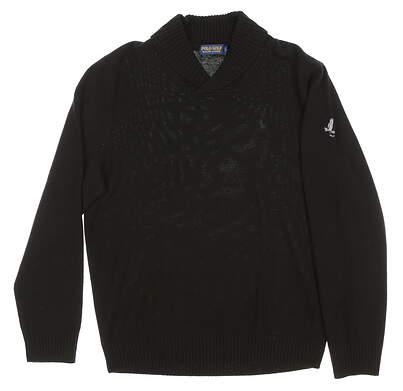 New W/ Logo Mens Ralph Lauren Polo Golf Shawl Collar Sweater Large L Black MSRP $225