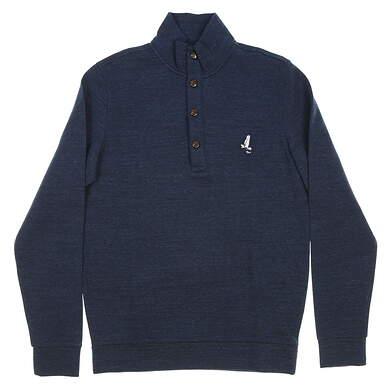 New W/ Logo Mens Ralph Lauren Polo Golf Button Sweater Medium M Navy Blue MSRP $125