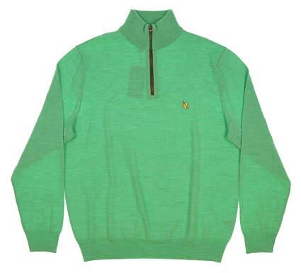 New W/ Logo Mens Ralph Lauren Merino 1/4 Zip Golf Sweater Medium M Green MSRP $185
