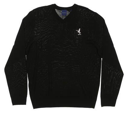 New W/ Logo Mens Dunning Golf Player Merino V-Neck Sweater Medium M Black MSRP $125