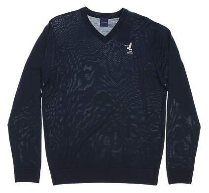 New W/ Logo Mens Dunning Golf Player Merino V-Neck Sweater Medium M Navy Blue MSRP $125 D7F12S149