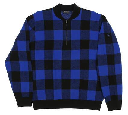 New W/ Logo Mens Ralph Lauren Polo Golf Plaid Merino 1/4 Zip Sweater Large L Blue/Black MSRP $125