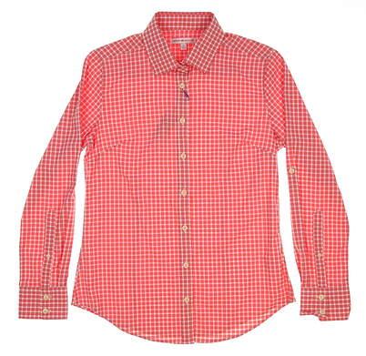 New Womens Peter Millar Tattersall Performance Button Up Shirt Small S Pink (Starfish) MSRP $110 LS16EW04