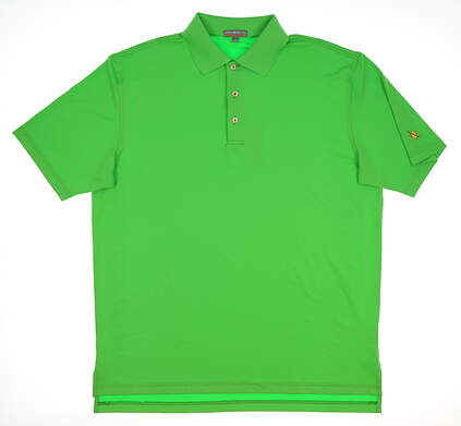 New W/ Logo Mens Peter Millar Golf Polo Large L Green MSRP $86