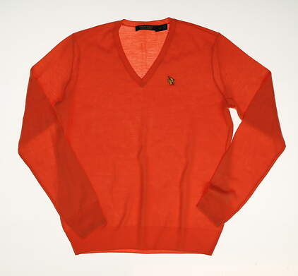 New W/ Logo Womens Ralph Lauren Golf Sweater Large L Orange MSRP $125