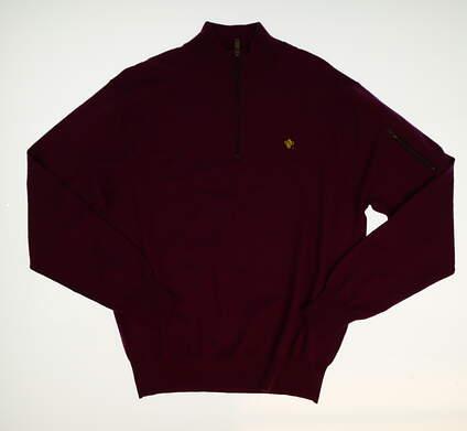 New W/ Logo Mens Peter Millar 1/4 Zip Golf Sweater Medium M Purple MSRP $195