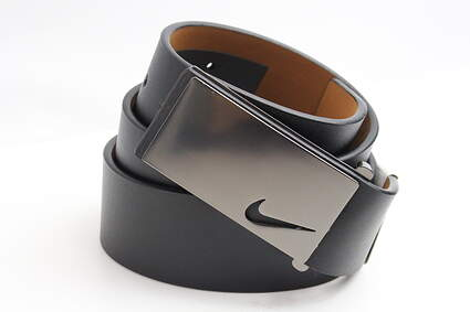 New Mens Nike Golf Tour Sleek Modern Plaque Leather Belts 34 Black MSRP $50 1118701