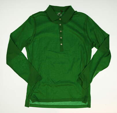 New W/ Logo Womens Peter Millar Long Sleeve Golf Polo X-Small XS Green MSRP $89.50