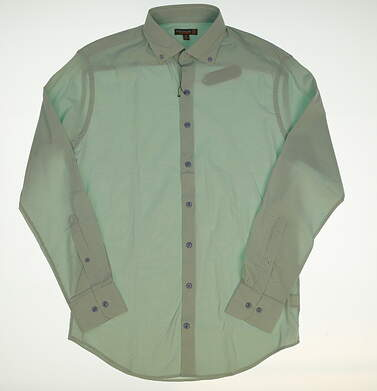 New W/ Logo Mens Peter Millar Button Up Medium M Green MSRP $135