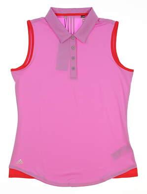 New Womens Adidas Climalite Essentials 3-Stripe Sleeveless Polo Medium M Pink MSRP $55 AE5290