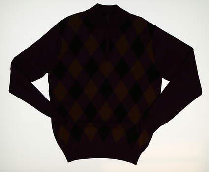 New Mens Peter Millar 1/4 Zip Golf Sweater Medium M Purple MSRP $200