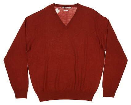 New Womens Peter Millar Golf Merino V-Neck Sweater X-Large XL Orange (Serrano) MSRP $150 MF14S31