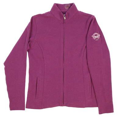 New W/ Logo Womens Peter Millar Golf Full Zip Mock Neck Small S Purple MSRP $125