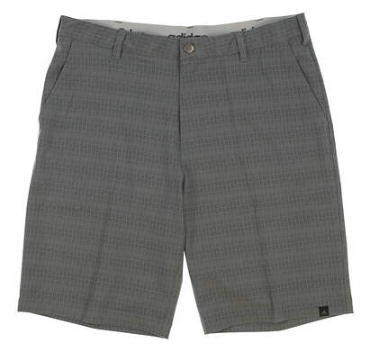 New Mens Adidas Ultimate Dot Plaid Golf Shorts Size 34 Gray MSRP $70