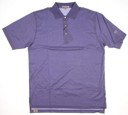 New W/ Logo Mens Peter Millar Golf Polo Large L Purple MSRP $98