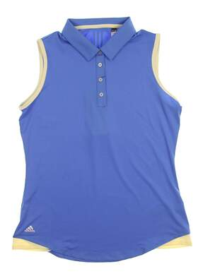 New Womens Adidas Sleeveless Golf Polo X-Large XL Blue MSRP $60