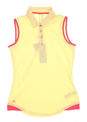 New Womens Adidas Sleeveless Golf Polo X-Large XL Yellow MSRP $60