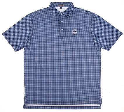 New W/ Logo Mens Peter Millar Golf Polo Large L Blue MSRP $89.50