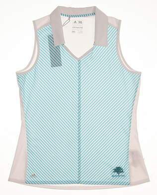 New W/ Logo Womens Adidas Climachill Sleeveless Golf Polo Medium M Multi MSRP $65