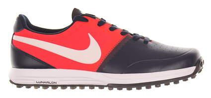 New W/O Box Mens Golf Shoe Nike Lunar Mont Royal 10 Navy/Red MSRP $140