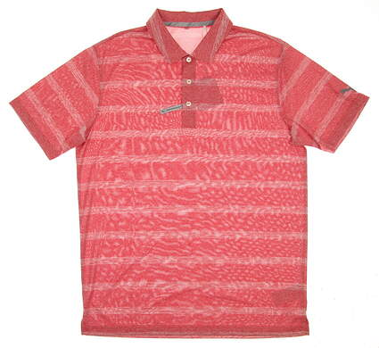 New 2017 Mens Puma Pounce Stripe Golf Polo Medium M High Risk Red MSRP $60